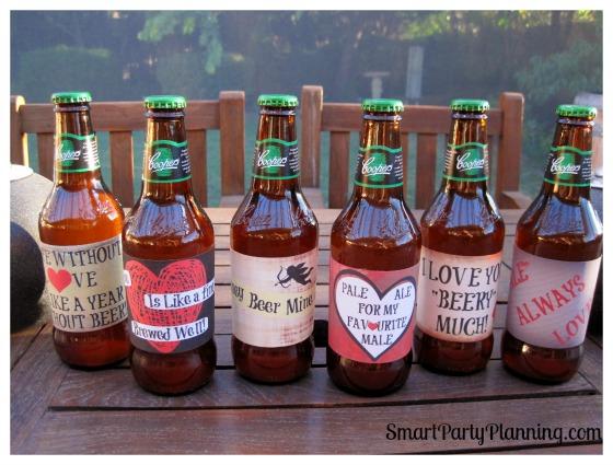 Set of 6 Valentine beer labels