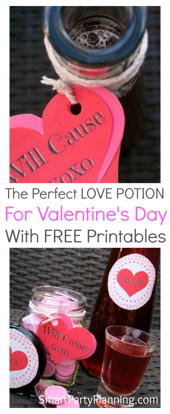 The perfect love potion drink for Valentine's day. This recipe will surely cast a spell on the one you love. Fun, quirky and most of all tasty, this love potion will look fabulous in a trendy little bottle. Use the FREE printable downloads to label your potion for maximum effect.