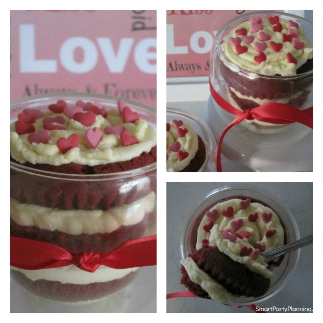 Red velvet cupcake in a glass with cream cheese frosting