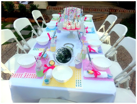 Spa Party Table Set Up