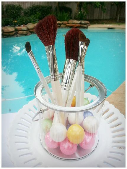 Jar of make up brushes