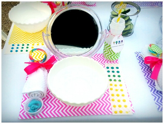 Individual place setting at the spa party