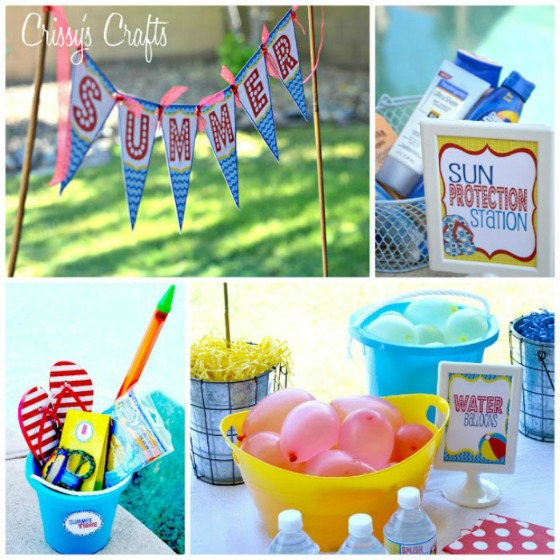 Colorful and fun pool party