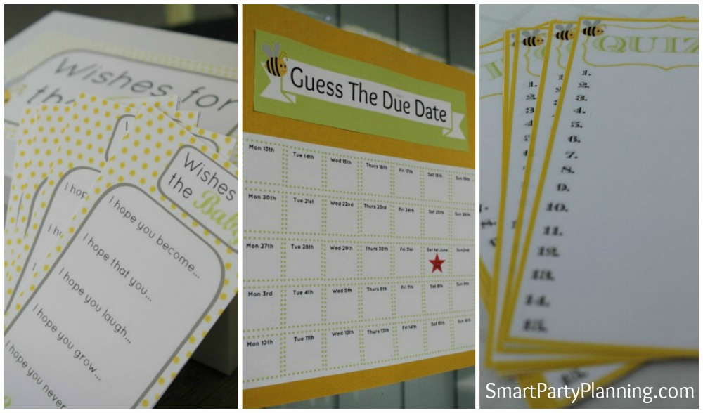 Free Baby Shower Printables (Yellow Bee)