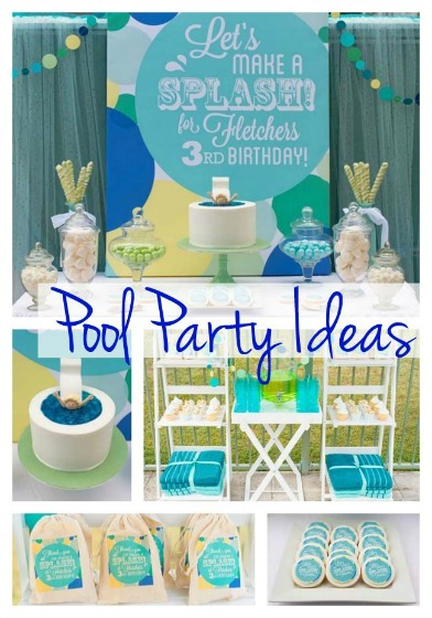 Green and blue pool party