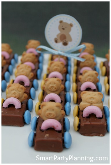 """Need some easy kids party food ideas? You can't get much easier than tiny teddy cars. They are cheap and simple to make, plus look adorable! Make them ahead of time to allow extra time for preparing things on the day. The kids absolutely love them and are perfect for a birthday party celebration. Follow the easy """"how to"""" tutorial."""
