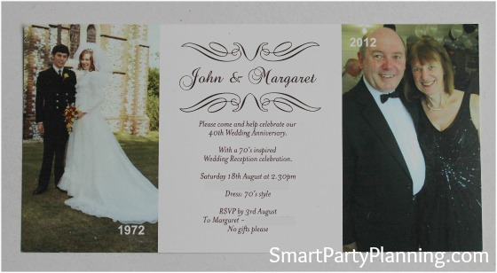 40th Wedding Anniversary Party Invitation