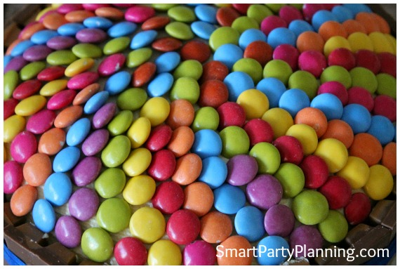 Spiral Smartie pattern on the top of a cake