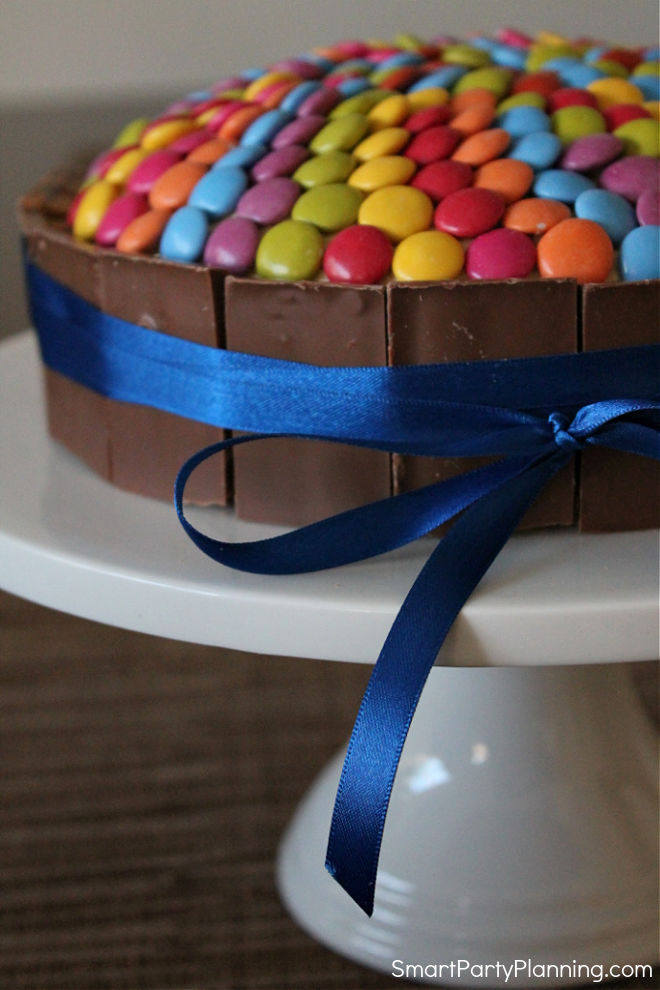 Side view of Smartie cake