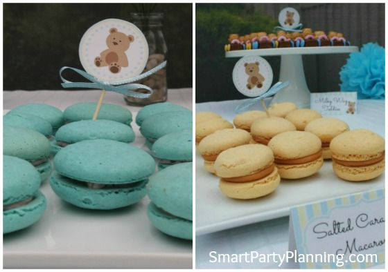 Blue and Yellow Macarons