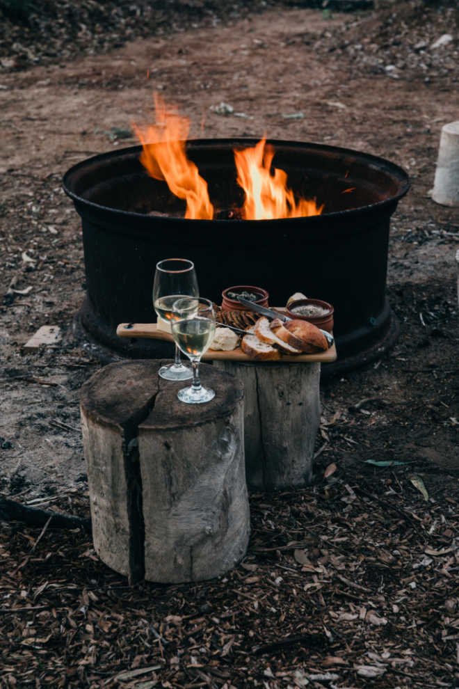 bonfire with food