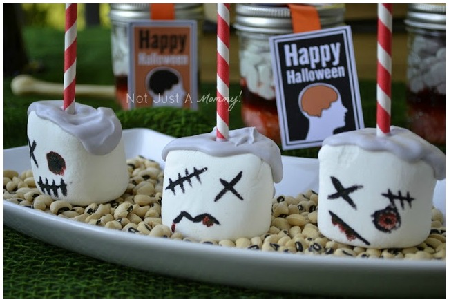 close up of zombie themed marshmallow pops