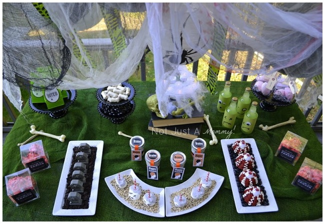 Ariel view of the zombie themed party table