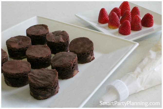 chocolate brownie bites and strawberries