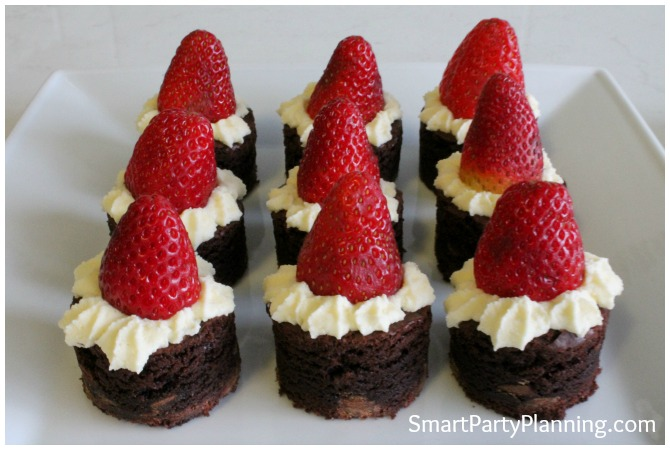 Plate of finished Santa hat brownies