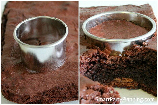 cutting out the chocolate brownie bite with a cookie cutter