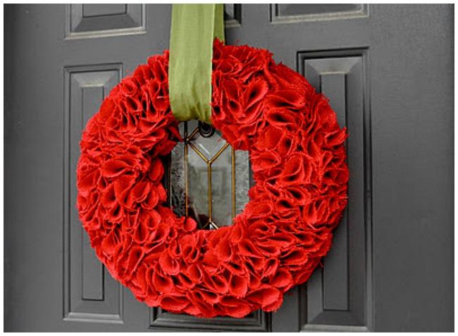 Burlap red Christmas wreath