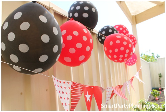 Red and black polka dot balloons