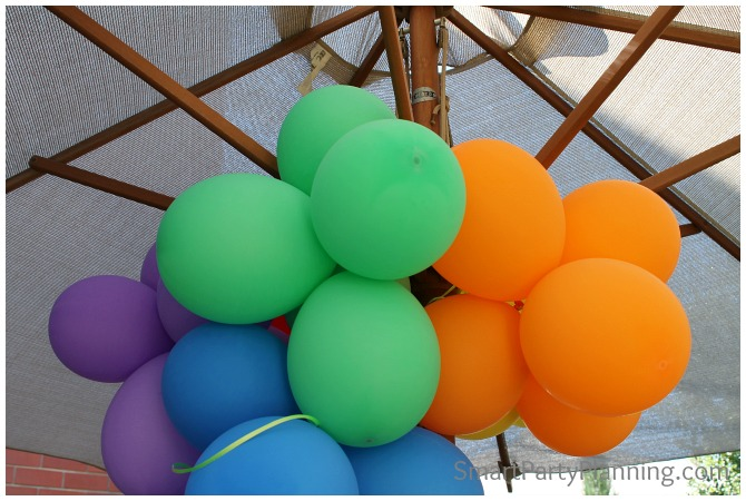 Rainbow coloured balloons