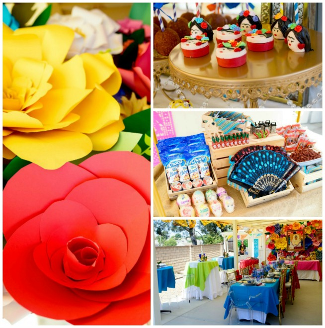 Frida kahlo inspired mexican theme party smart party - Mexican themed party decoration ideas ...