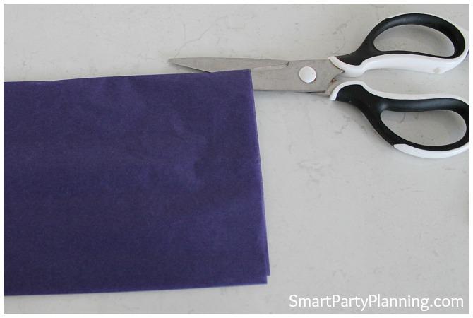 Scissors with tissue paper