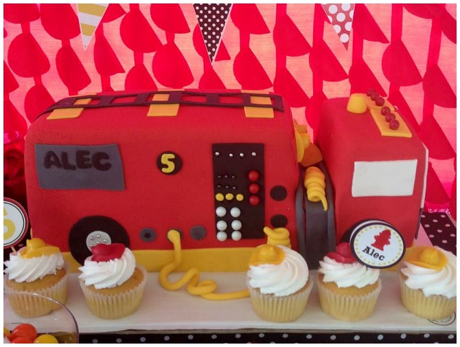 Firetruck birthday party cake