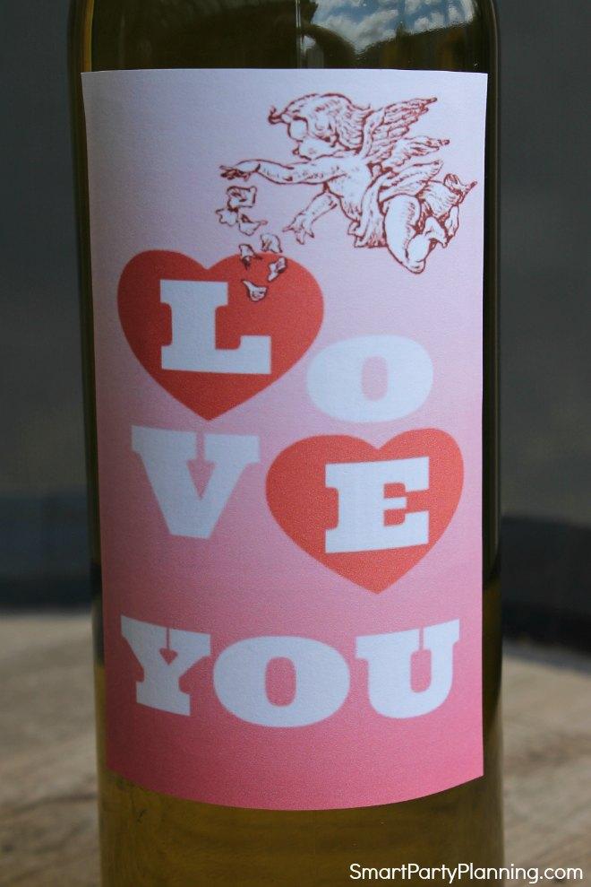 Printable valentine wine label I love You