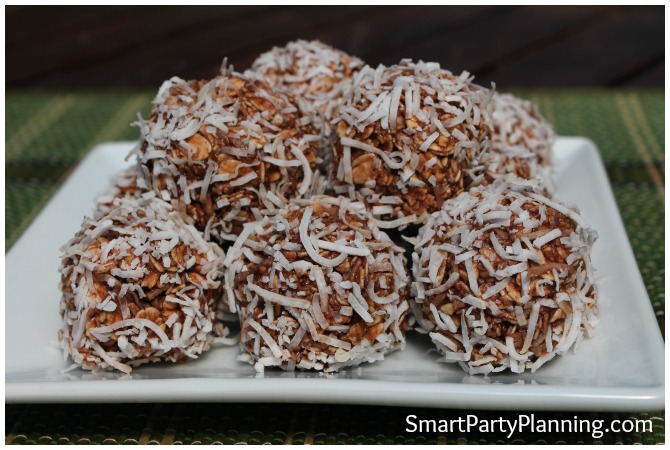 Plate of healthy chocolate coconut balls