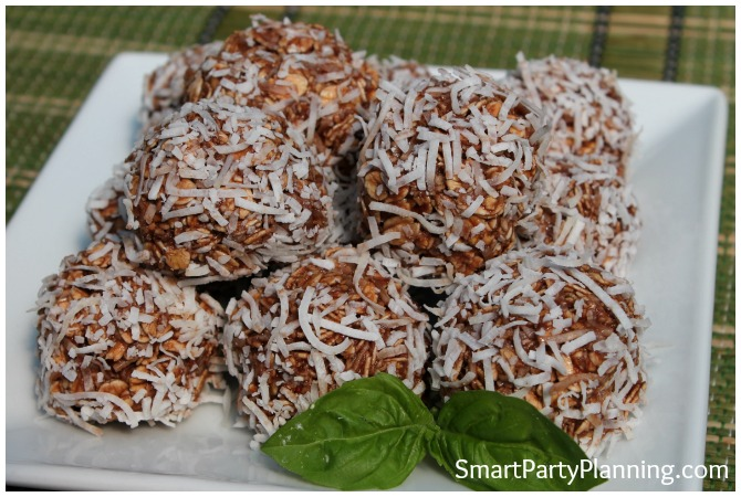 Plate of chocolate coconut balls