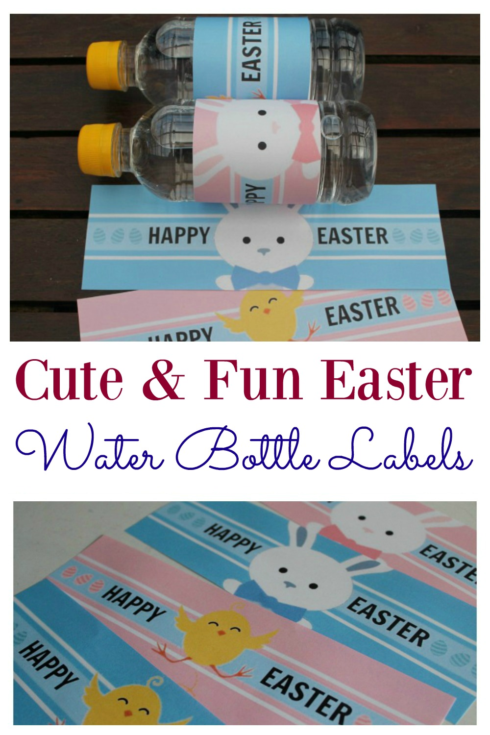 Free set of printable Easter water bottle labels. Kids will love them in their school lunch box, or they are perfect to use at Easter parties. They are an easy way to make kids happy this Easter. These labels are perfect for water or soda bottles and can be created immediately with the ease of an instant download.