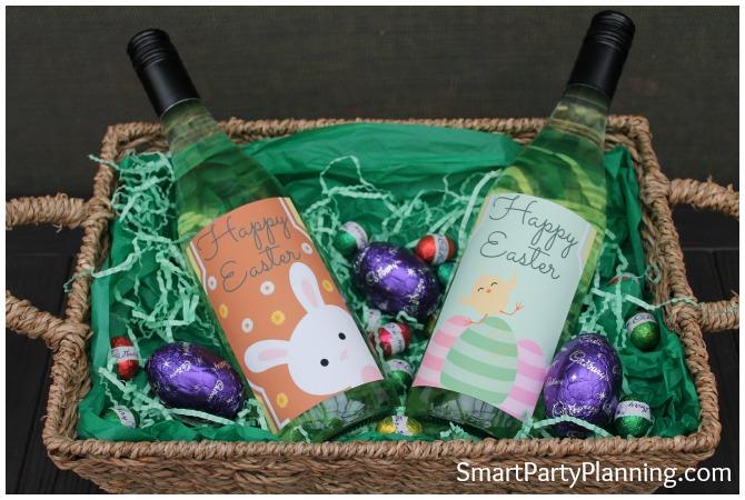 Easter wine bottle labels in a hamper