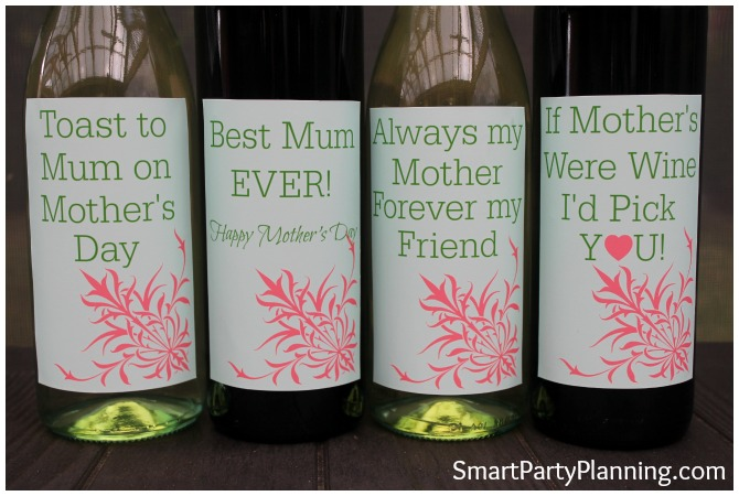Close up of mothers day wine labels