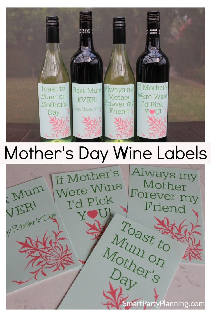 Printable Mothers Day Wine Labels