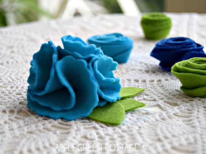 folded felt flowers