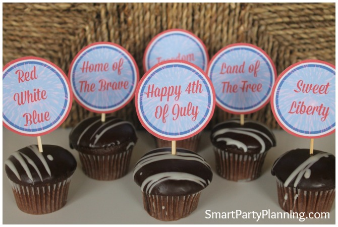 Set of 6 4th of July cupcake toppers