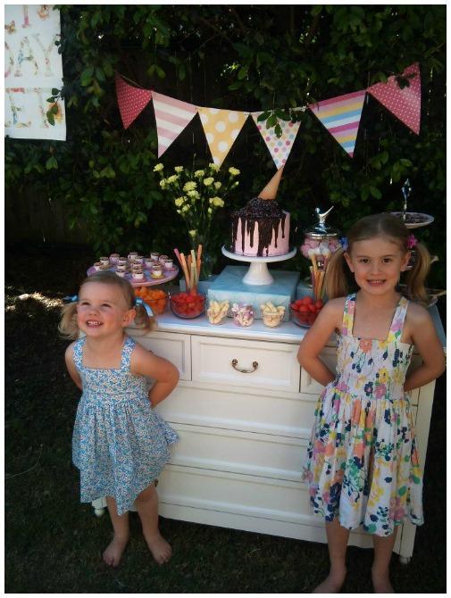 Girls with ice cream display