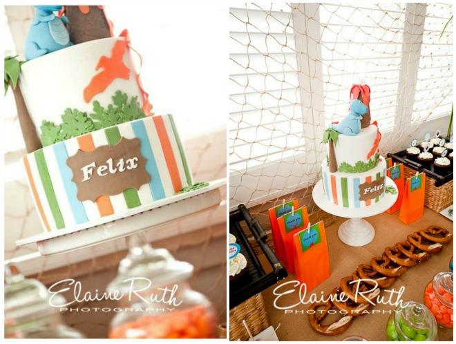 Dinosaur birthday party cake