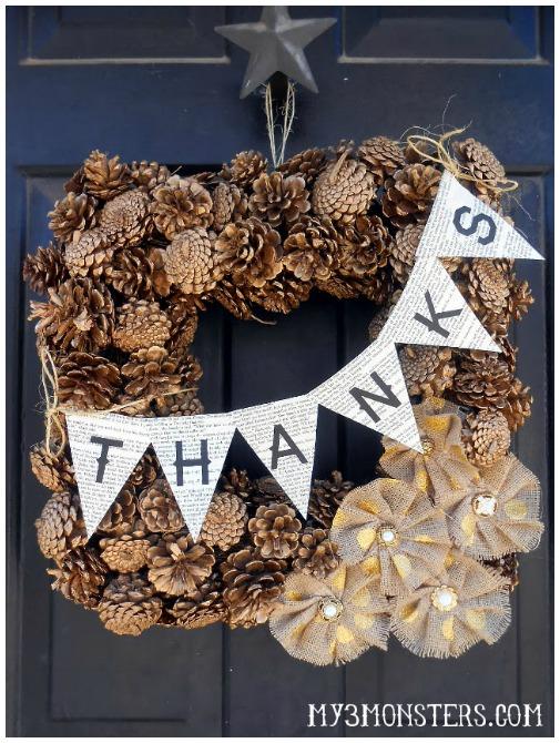 Pine cone Thanksgiving wreath