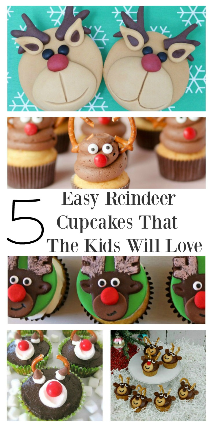 Adorable reindeer cupcakes are perfect for a Christmas celebration. They are mini pleasures that will bring lots of fun to the young and old. All the recipes are easy to make and the kids will have fun decorating them.