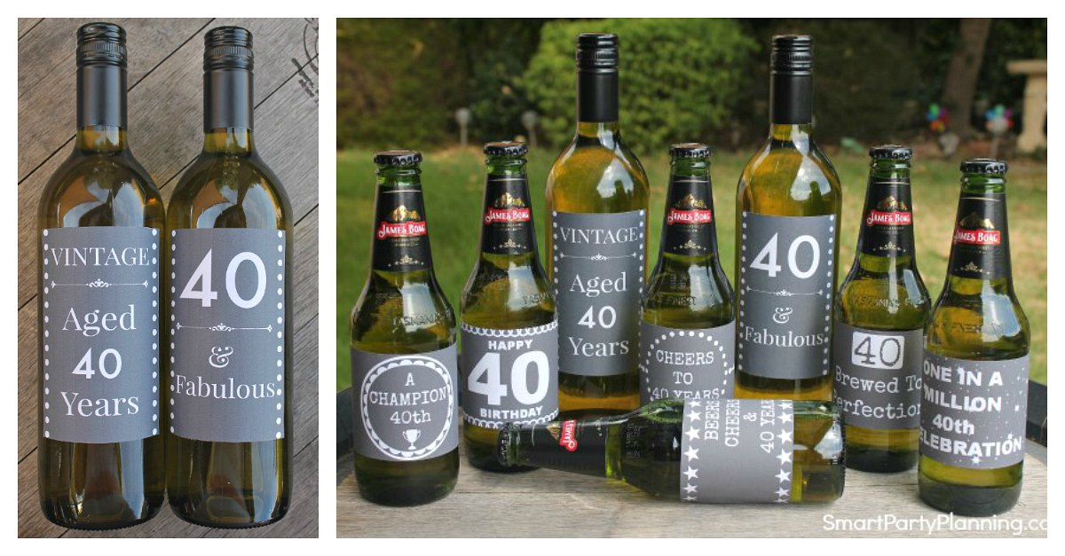 40th Birthday Beer Amp Wine Printable Labels