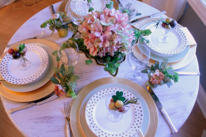 This St Patricks day tablescape is modern, soft and romantic. A different spin from the normal bright green and gold.