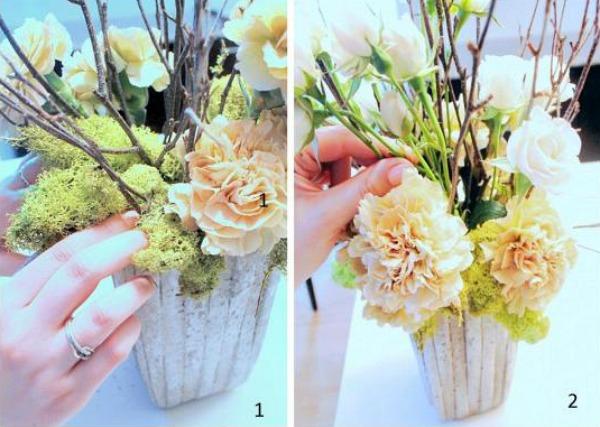 Simple flower centrepieces