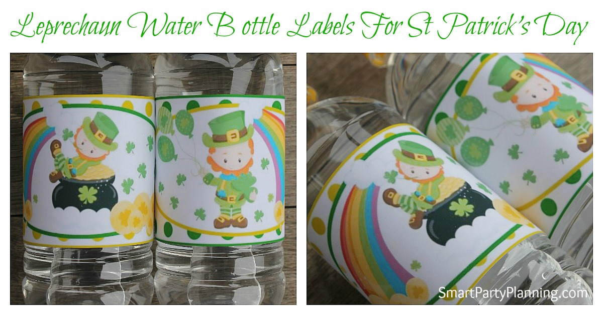 These Leprechaun water bottle labels are perfect for party decoration or just to give the kids a treat on St Patrick's Day.