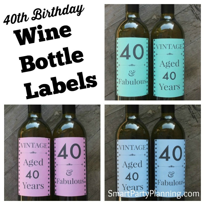 Pink Blue and Green 40th Wine Bottle Labels