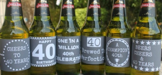 Chalkboard 40th Beer Labels