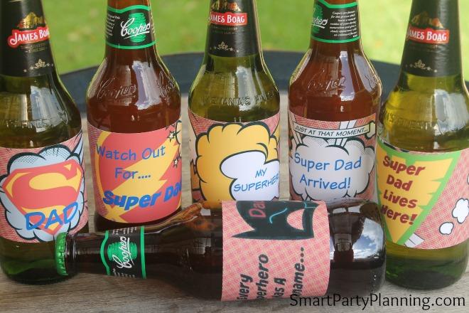 Super dad printable beer labels shown as a set