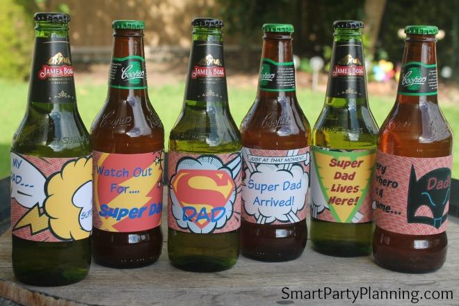 Super dad printable beer labels on the bottles