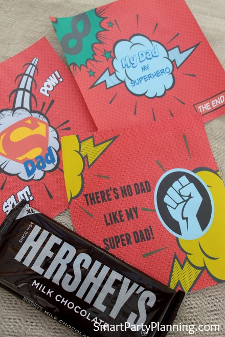 These superhero printable's are the perfect gift for Father's day or dad's birthday. They are designed for Hershey bar wrappers and what dad doesn't like his chocolate! If you are looking for gifts from the kids, this one is easy to organize and will be great for their little budget. Dad will love it, and the kids will be excited crafting it together. It's a winner for everyone, especially the superhero dad!