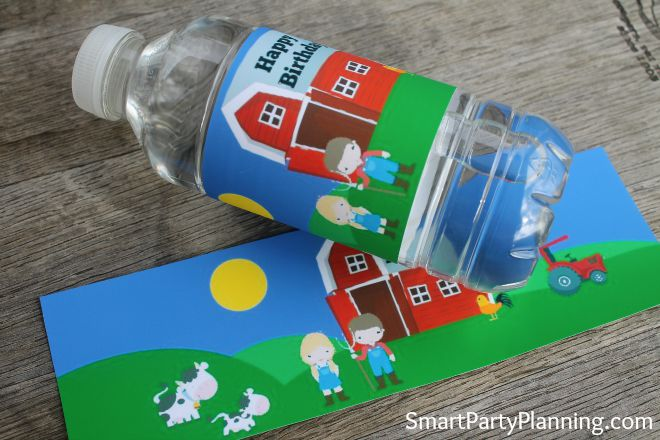 Printable Barnyard water bottle labels