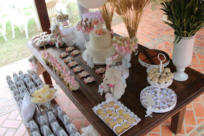 Lamb baptism dessert table